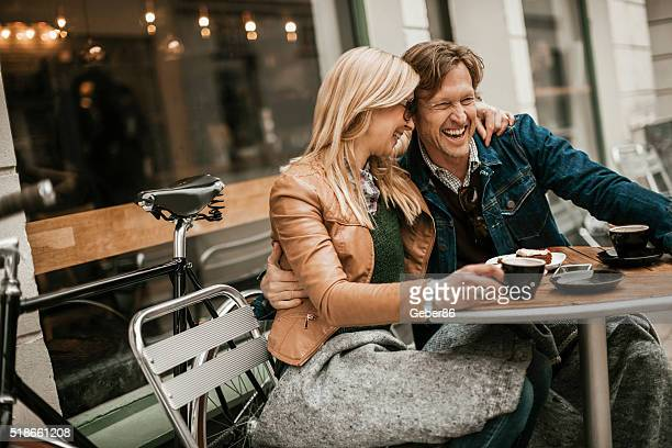 happy mature couple in cafe - dating stock pictures, royalty-free photos & images