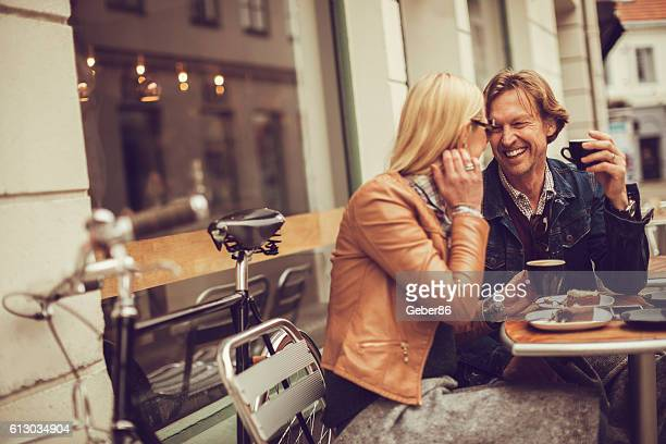 happy mature couple in cafe - northern european stock photos and pictures