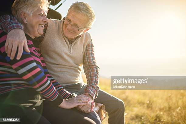 Happy mature couple in nature