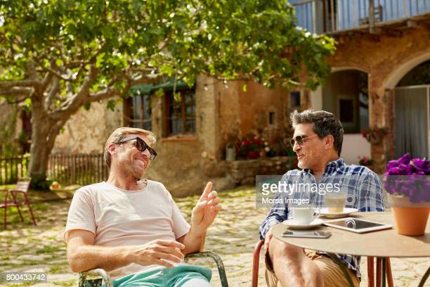 happy mature friends talking while sitting in yard - male friendship stock pictures, royalty-free photos & images