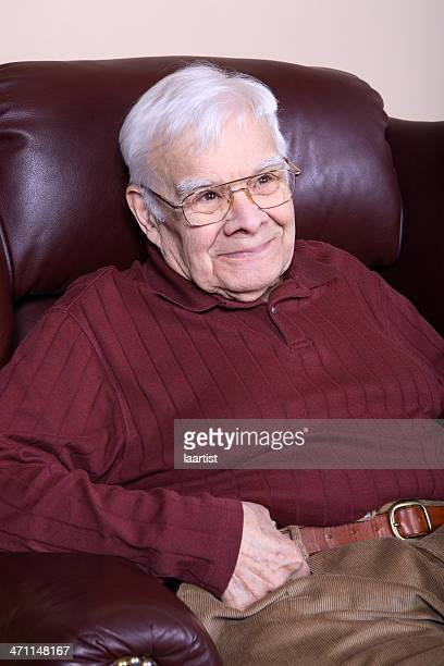 happy mature man. - reclining chair stock photos and pictures