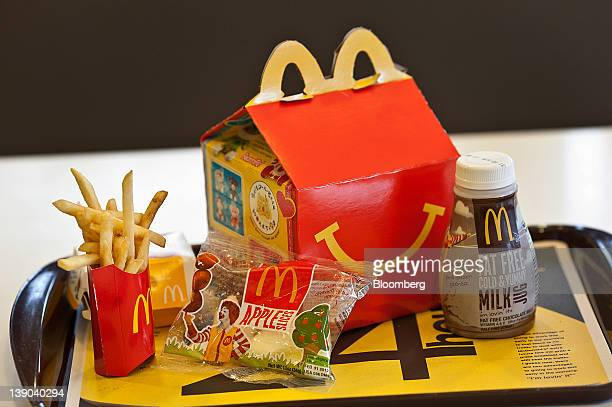 A Happy Meal is displayed for a photograph on a tray at a McDonald's Corp restaurant in Little Falls New Jersey US on Wednesday Feb 15 2012...