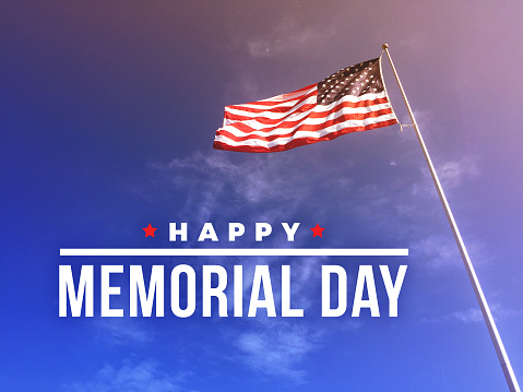 Happy Memorial Day Text with American Flag 946948274