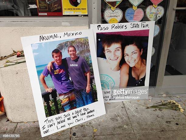Happy memories of Christopher Michaels-Martinez placed outside the entrance to IV Deli Mart in Isla Vista, California. The UCSB student was gunned...