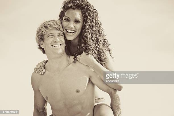 Happy Mixed Couple enjoying summertime