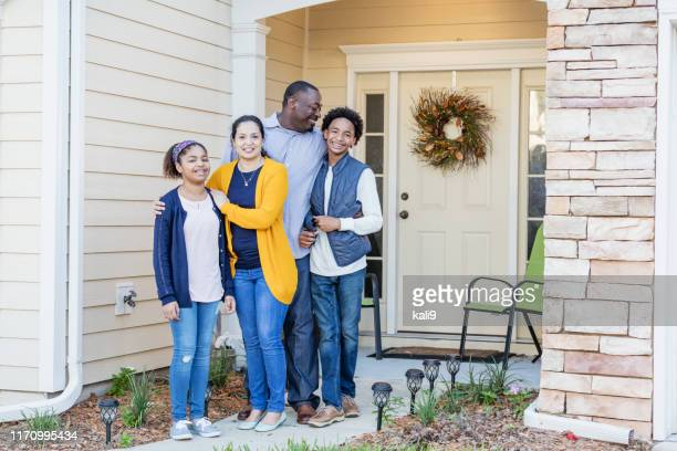 happy mixed race african-american and hispanic family - in front of stock pictures, royalty-free photos & images