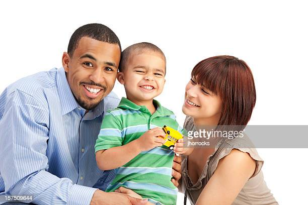 happy mixed race family of three on white - white wife black baby stock photos and pictures