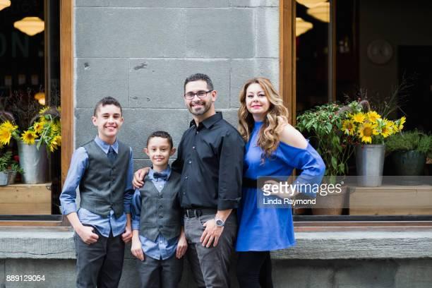 Happy mixed race family on vacations