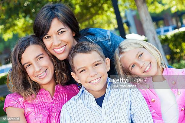 Happy mom with her kids