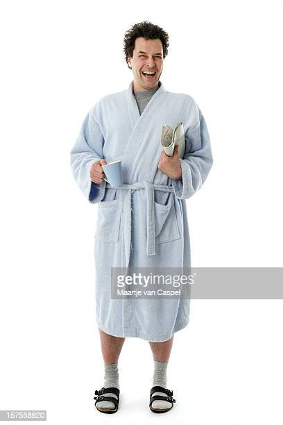 happy morning man - bathrobe stock pictures, royalty-free photos & images