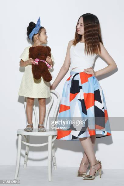 happy mother and daughter - mama bear stock photos and pictures