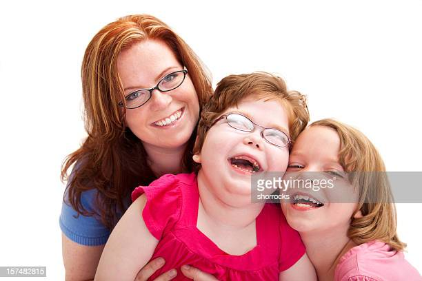 Happy Mother and Two Laughing Daughters