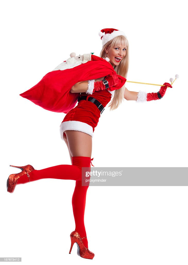 Happy Mrs. Santa Claus with bag on white : Stock Photo