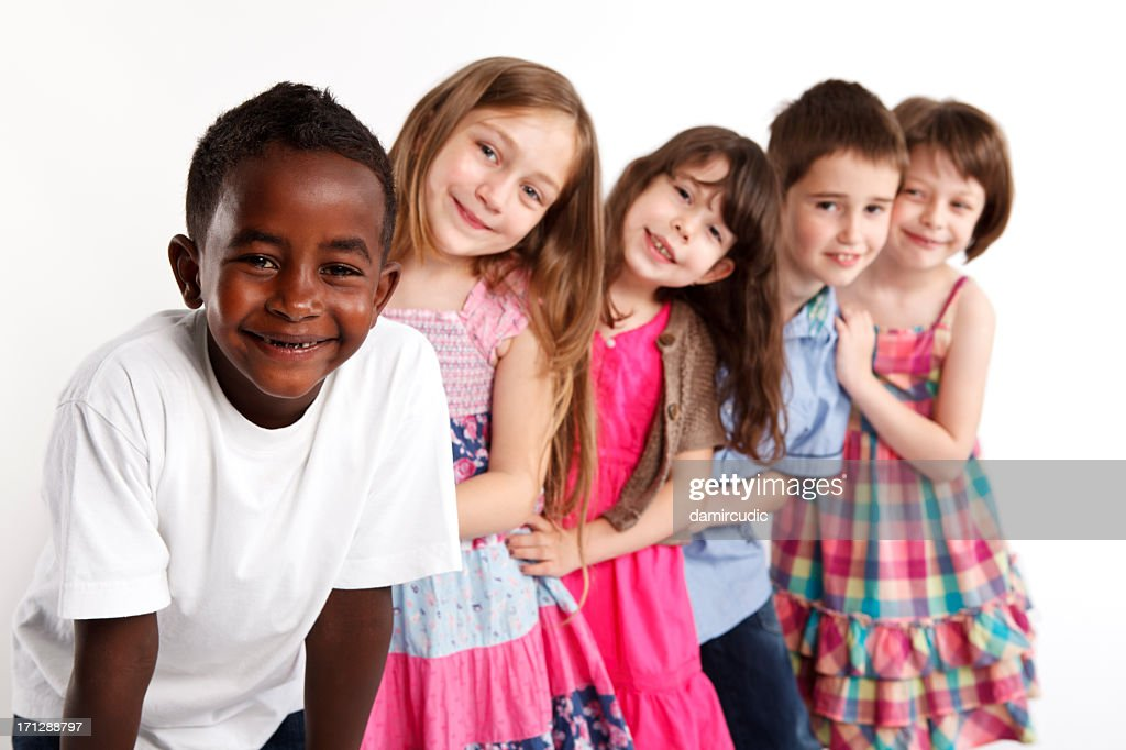Happy Multi Ethnic Group Of Children Playing Together High ...
