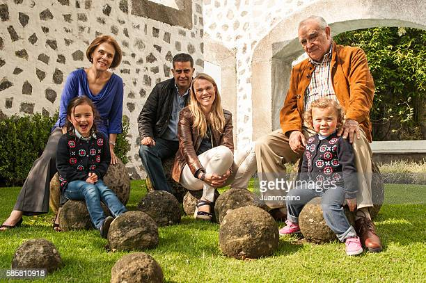 Happy multi race multi generation family