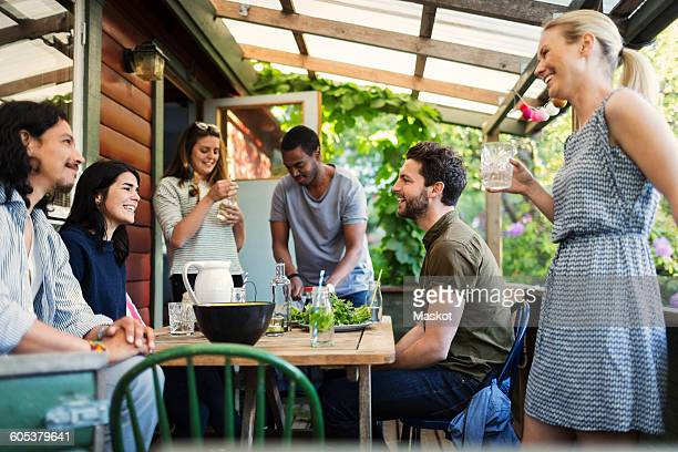 Happy multi-ethnic friends enjoying party at log cabin