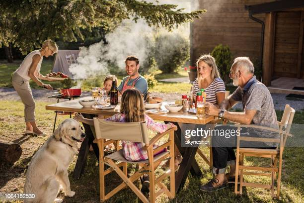 happy multi-generation family enjoying in lunch time at their back yard. - dog eats out girl stock pictures, royalty-free photos & images
