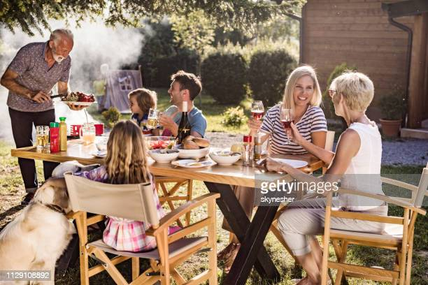 happy multi-generation family enjoying in lunch time at their back yard. - dog eats out girl stock photos and pictures