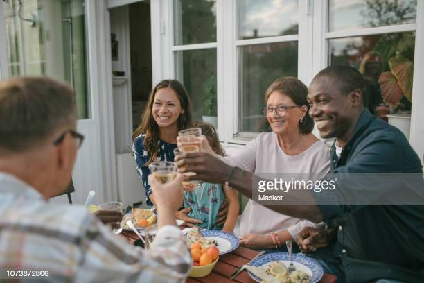 happy multi-generation family toasting drinks at table during garden party - mid adult stock-fotos und bilder