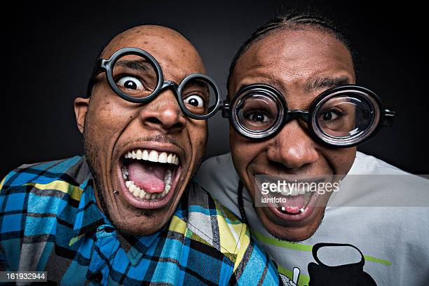 Happy nerds with glasses