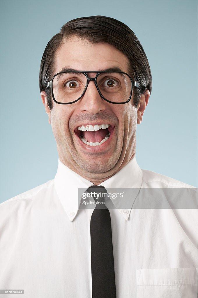 Happy Nerdy Office Worker : Stock Photo