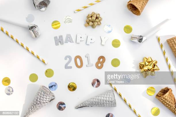 happy new year  2018  background .Flat lay