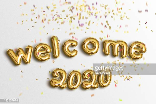 happy new year 2020 balloon - 2020 calendar stock photos and pictures