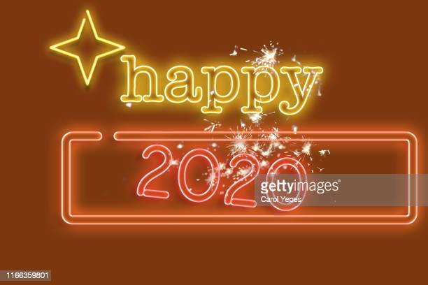 happy new year 2020 in neon lights - dia de ano novo imagens e fotografias de stock