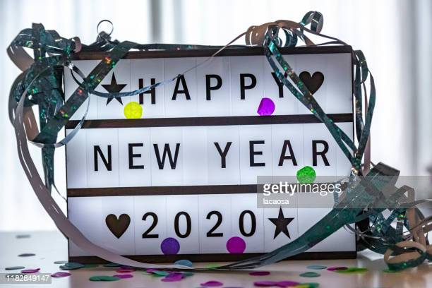 happy new year 2020 on a lightbox - happy new year 2020 stock photos and pictures