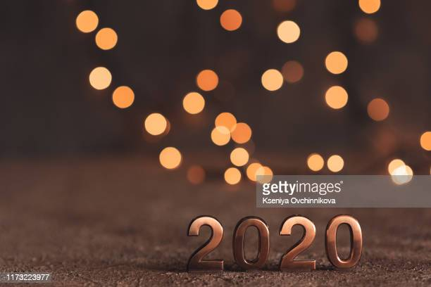 happy new year 2020 word made from sparkler light firework - 2020年 ストックフォトと画像