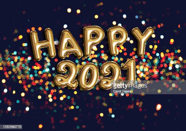 happy new year 2021 foiled golden balloon in black background with confetti - new year's eve stock pictures, royalty-free photos & images