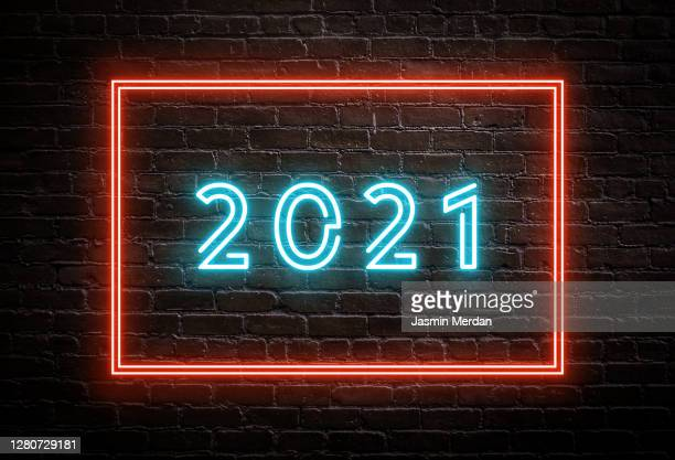 happy new year 2021 - neon on wall - 2021 stock pictures, royalty-free photos & images