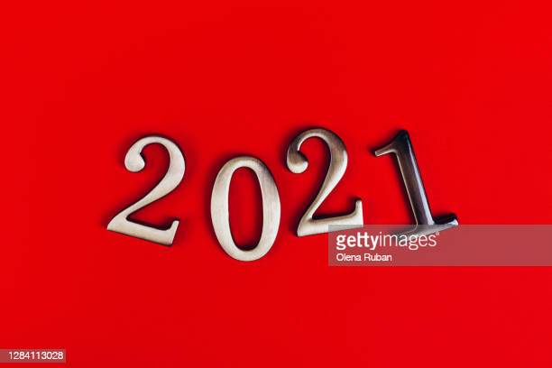 happy new year 2021 - numbers on red background - happy new month stock pictures, royalty-free photos & images
