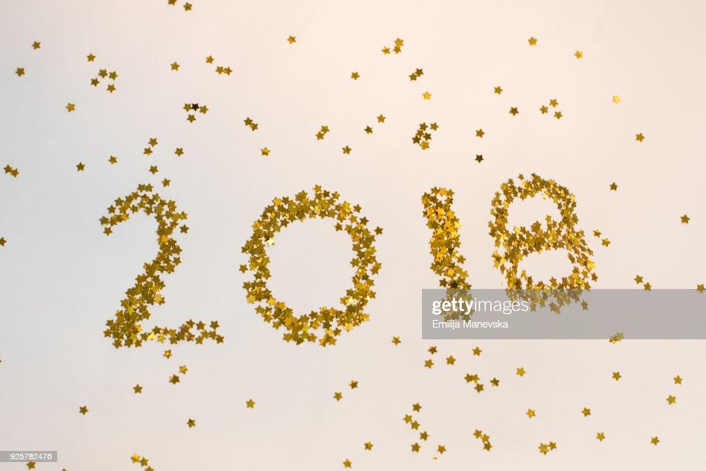 2018 happy new year background golden glitter stock photo