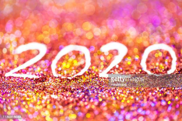 2020 happy new year background multicoloured  glitter - 2020年 ストックフォトと画像