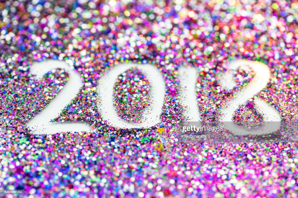 2018 Happy New Year background Multicoloured glitter : Stock-Foto