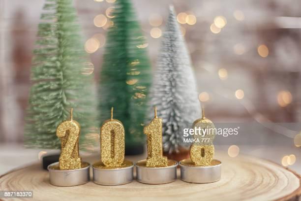 2018 happy new year christmas decoration - 2018 stock-fotos und bilder
