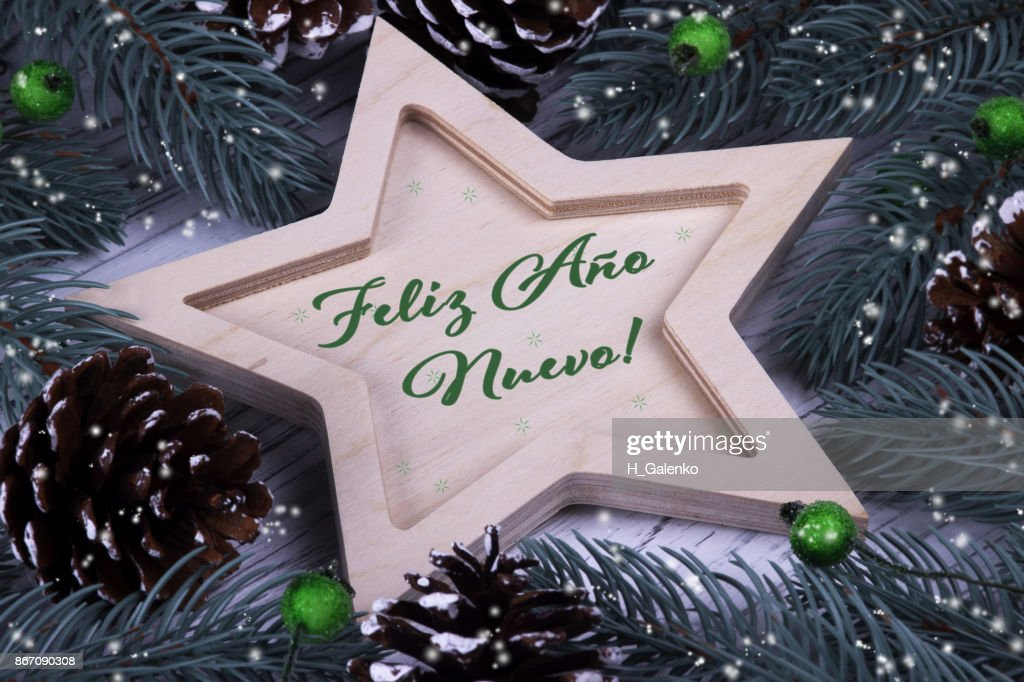 Happy new year greeting card in spanish stock photo getty images happy new year greeting card in spanish stock photo m4hsunfo