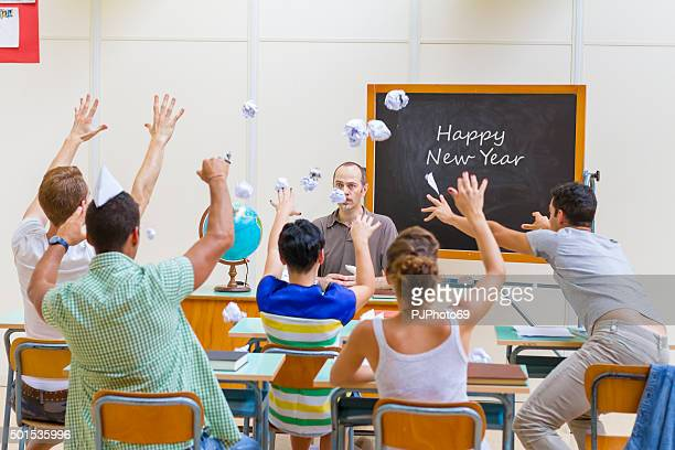 happy new year in classroom - pjphoto69 stock pictures, royalty-free photos & images