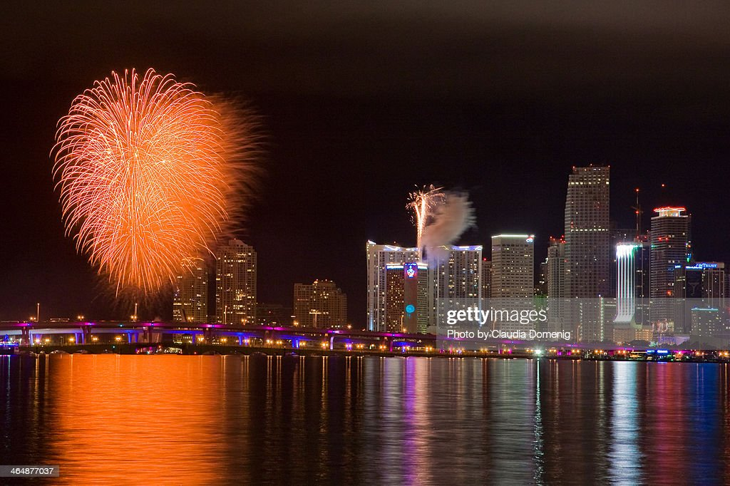 happy new year miami stock photo