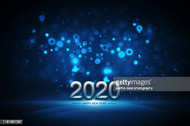 happy new year on blue bokeh light background - happy new month - fotografias e filmes do acervo