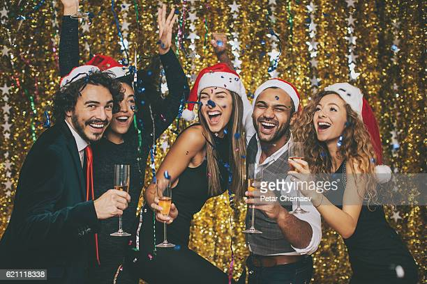 happy new year! - christmas party stock photos and pictures