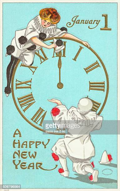 A Happy New Year Postcard with Clock