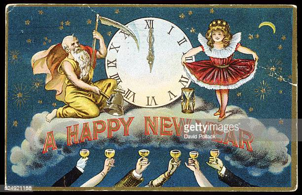 A Happy New Year Postcard with Father Time and a Young Girl circa 1910