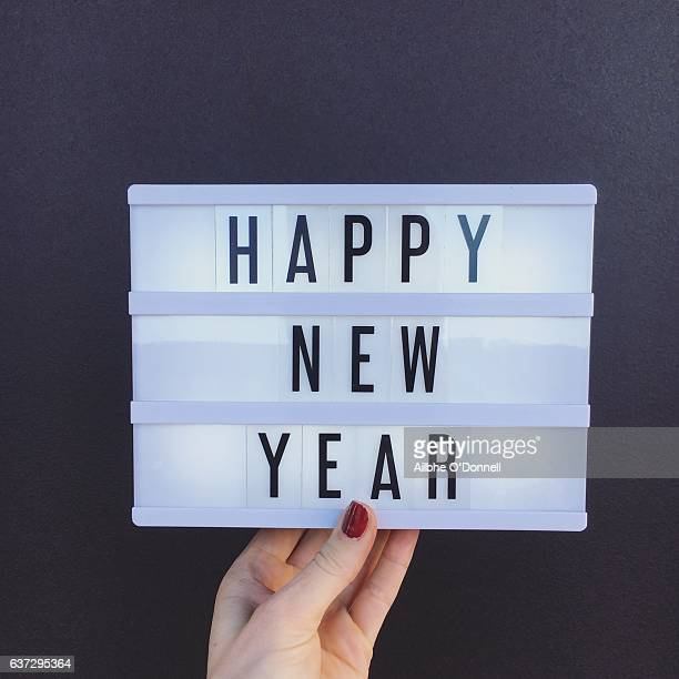 happy new year sign - lightbox stock pictures, royalty-free photos & images