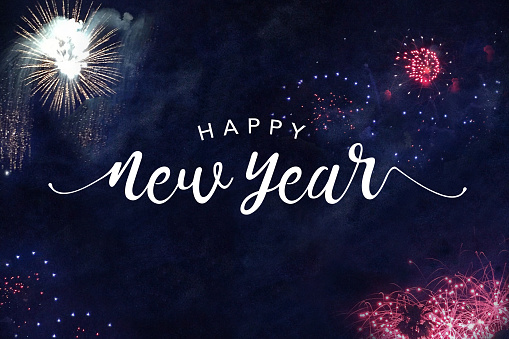 Happy New Year Typography with Fireworks 871844766