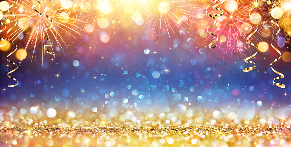 Happy New Year With Glitter And Fireworks 1078164508