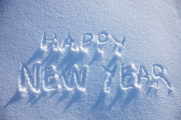 happy new year written in snow wall art photo id 152829906