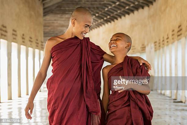 Happy Novice Monks Together Bagan Myanmar