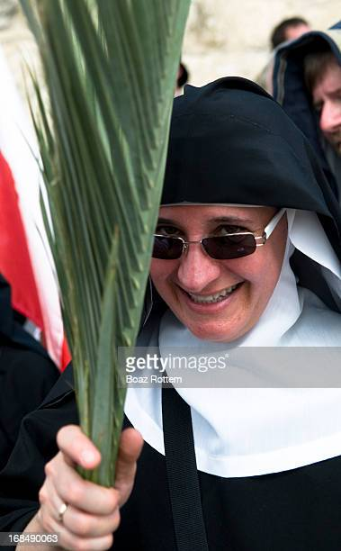 Happy nun. Photo taken during the 'Palm Sunday' procession in East Jerusalem.